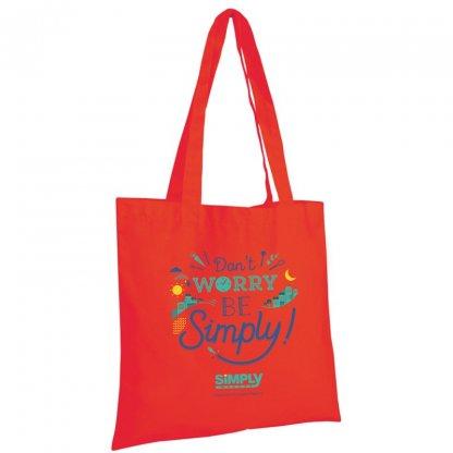 Sac Shopping Publicitaire En Coton Naturel 130g 38x42cm Rouge KANPUR