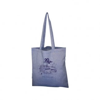 Sac shopping publicitaire en coton recyclé - 150g - 38x42cm - bleu - NAZIK
