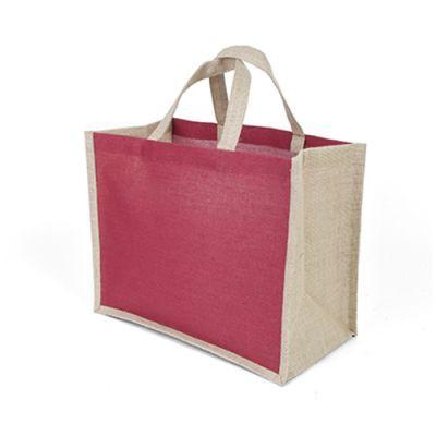 Sac Shopping Publicitaire En Jute Et Coton Rouge JUCO