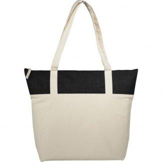 Sac shopping zippé personnalisable en coton et toile de jute - 407g - 50,8x15,2x39,4cm - noir - COTEPAIS