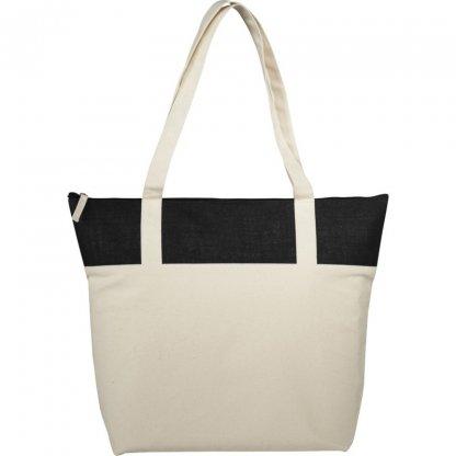 Sac Shopping Zippé Personnalisable En Coton Et Toile De Jute 407g 50,8x15,2x39,4cm Noir COTEPAIS