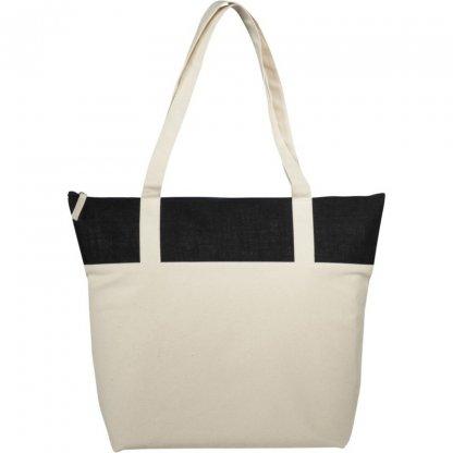 Sac Shopping Zippé Personnalisé En Coton Et Toile De Jute 407g 50,8x15,2x39,4cm Gris COTEPAIS