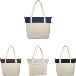 Sac shopping zippé promotionnel en coton et toile de jute - 407g - 50,8x15,2x39,4cm - couleurs - COTEPAIS