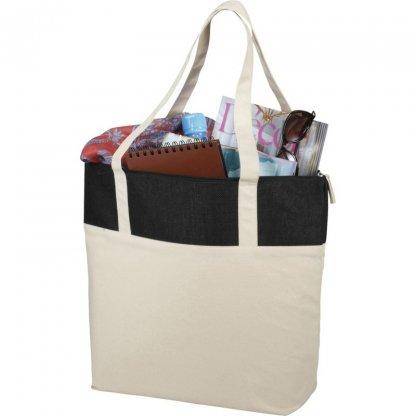 Sac Shopping Zippé Publicitaire En Coton Et Toile De Jute 407g 50,8x15,2x39,4cm Courses COTEPAIS