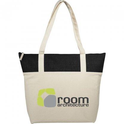 Sac Shopping Zippé Publicitaire En Coton Et Toile De Jute 407g 50,8x15,2x39,4cm Logo COTEPAIS