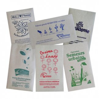 Sachet de graines en papier kraft - Marquer 1 couleur sur sachet - KRAFTGRAINES