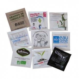 Sachet de graines publictaire en papier - 55x55mm - SAPOUSSE