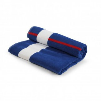 Serviette de plage personnalisable en coton RECOVER et polyester SEAQUAL - 100x160cm - roulée - BLUEPLAYA