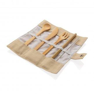 Set cinq couverts de table promotionnels en bambou - ECOLUNCH