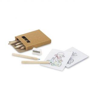 Set coloriage 6 petits crayons de couleur + taille crayon + 15 coloriages dans étui carton promotionnel