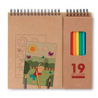 Set coloriage 8 crayons de couleur + 6 coloriages publicitaire - Avec marquage - COLOPAD