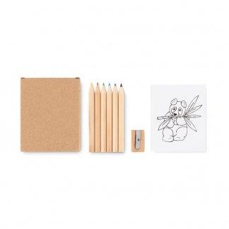 Set coloriage publicitaire 6 petits crayons de couleur + taille crayon + 20 coloriages dans étui carton - LITTLE VANGOGH