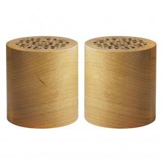 Set de 2 enceintes stéréo bluetooth publicitaire en bois certifié - WOODSTOCK