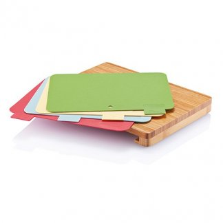 Set de 4 planches à découper dans support en bambou publicitaire - ouvert - CUT