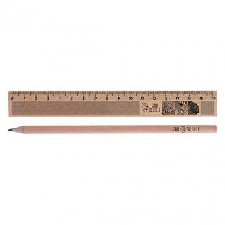 Set écriture crayon et règle en bois certifié publicitaire - KIT ECO