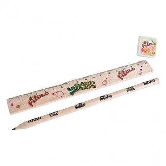 Set écriture crayon, gomme et règle en bois certifié publicitaire - KIT ECO 3