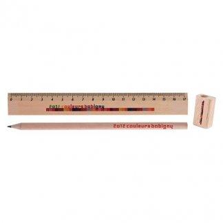 Set écriture crayon, taille-crayon et règle en bois certifié publicitaire - sans embout gomme - KIT ECO 4