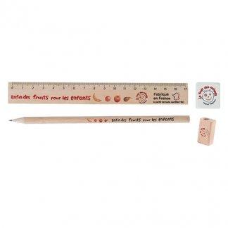 Set écriture crayon, taille-crayon, gomme et règle en bois certifié publicitaire - KIT ECO 6