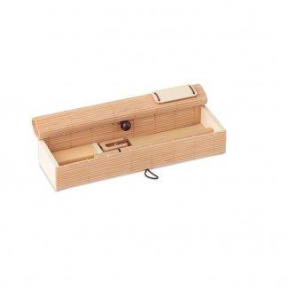 Set écriture dans coffret en bambou personnalisable - ouvert - CORTINA ETUI