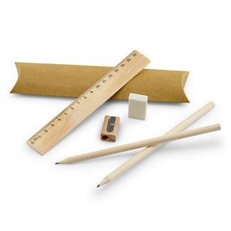 Set écriture en bois dans housse en carton publicitaire