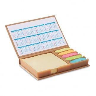 Set mémos avec calendrier dans bloc en carton naturel promotionnel - MEMOCALENDAR