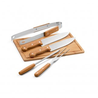 Set personnalisable à barbecue en bois et acier inoxydable - Set - FLARE