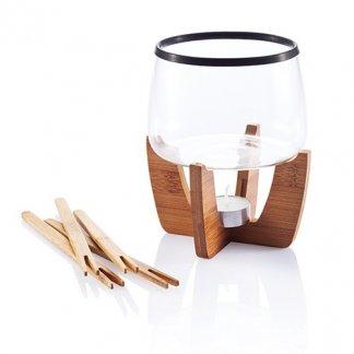 Set pour fondue au chocolat sur socle en bambou publicitaire - COCOA