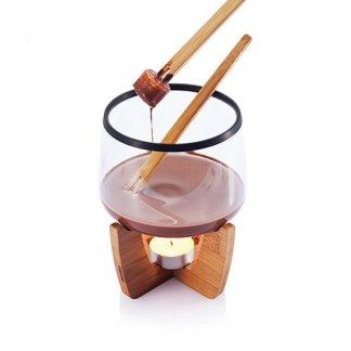 Set pour fondue au chocolat sur socle en bambou publicitaire - utlisation - COCOA