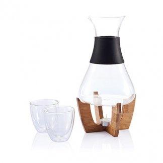 Set pour vin chaud sur socle en bambou publicitaire - GLU