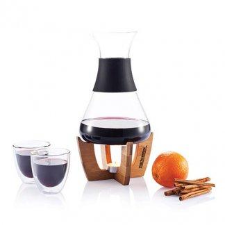 Set pour vin chaud sur socle en bambou publicitaire - avec marquage - GLU