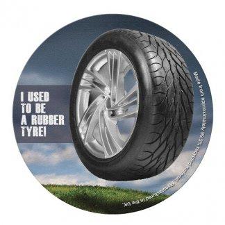 Sous-verre publicitaire en pneus recyclés - rond - GLASSPNEU