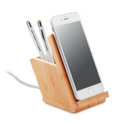 Station De Chargement Et Pot à Crayon En Bambou BAICOI Avec Téléphone