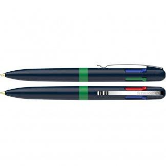 Stylo bille personnalisable 4 couleurs en plastique recyclé - bleu et vert - TAKE4