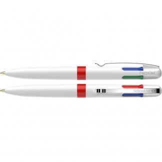 Stylo bille promotionnel 4 couleurs en plastique recyclé - blanc et rouge - TAKE4