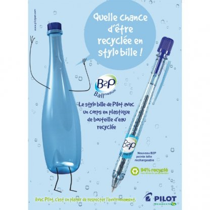 Stylo Bille Publicitaire En Bouteilles Plastiques Recyclées Pub B2P BILLE