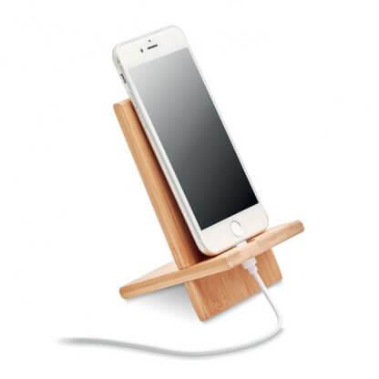Support Smartphone En Bambou WHIPPY Avec Téléphone