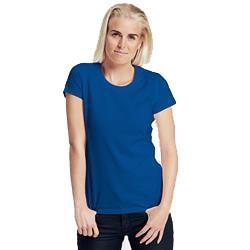 T-shirt publicitaire femme ajusté en coton biologique - manches courtes - bleu - FITTED LADIES