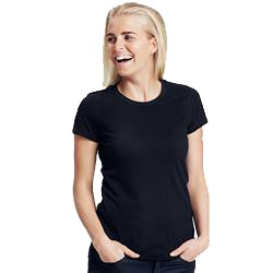 T-shirt publicitaire femme ajusté en coton biologique - manches courtes - noir - FITTED LADIES