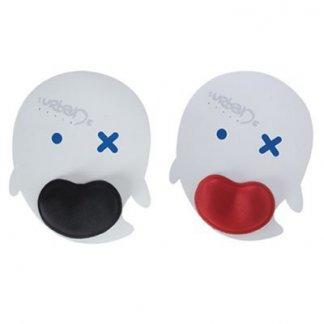 Tapis de souris ergonomique publicitaire à votre forme en gomme antidérapante - repose poignet noir ou rouge - ERGOTAPIS