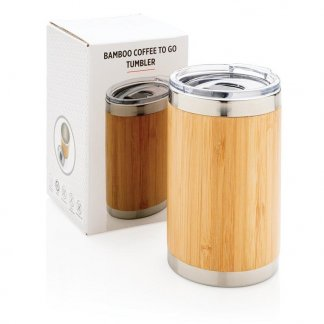 Tasse publicitaire bambou et inox emballage personnalisable - 270 ml - COFEE TO GO