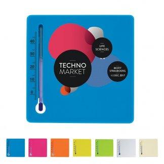 Thermomètre carré promotionnel en plastique polystyrène - Toutes couleurs