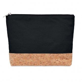 Trousse de voyage ou cosmétique personnalisable en coton et liège - Noir - PORTO BAG
