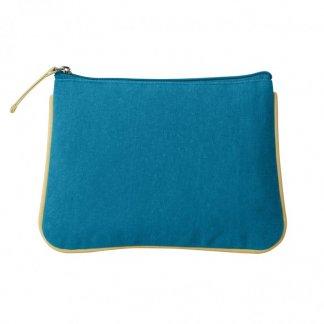 Trousse de voyage ou cosmétique personnalisée en coton biologique - Turquoise - COLORDAY