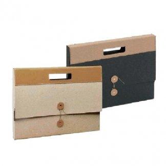 Valisette publicitaire en carton recyclé - bandeau cuir - KARLA