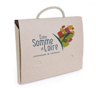 Valisette publicitaire en carton recyclé - fermeture encliquetage - marquage 4 couleurs - ELOI
