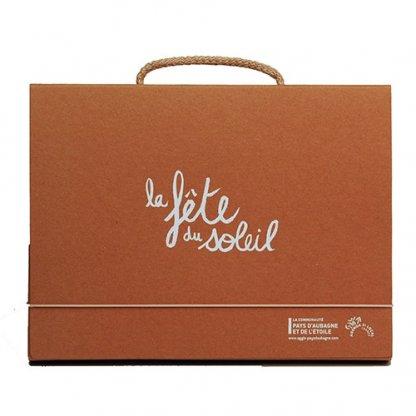 Valisette Publicitaire En Carton Recyclé Poignée Corde Orange VALENTINE