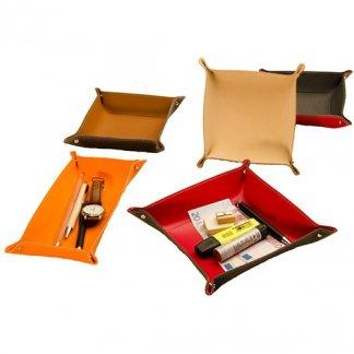 Vide-poches publicitaire en cuir recyclé - 3 formats - VIDE POCHE