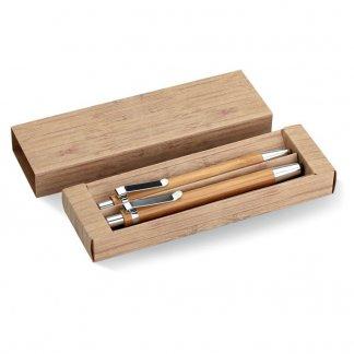 Parure stylet / stylo + porte-mines publicitaire en bambou - BAMBOOSET