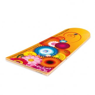 Éventail pliable personnalisé en carton certifié - 7 pans - Plié