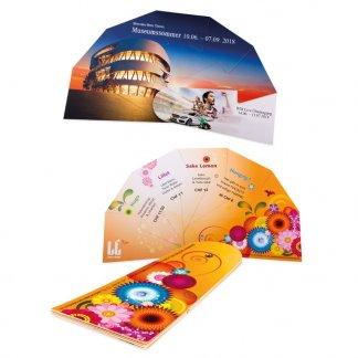 Éventail pliable promotionnel en carton certifié - 7 pans